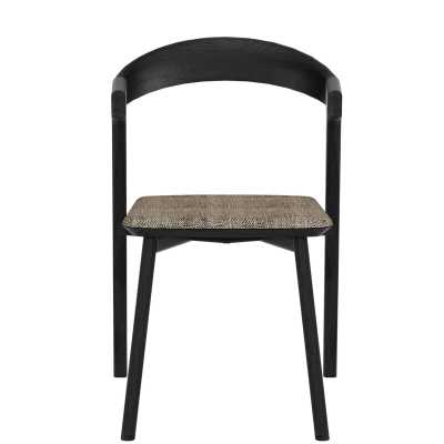 Ethnicraft Bok Oak Solid Wood Dining Chair Upholstery Color: Gray, Frame Color: Black - Perigold