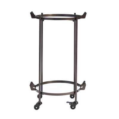 Home Decorators Collection Oil Rubbed Bronze Metal Rolling Bar Cart with Mirrored Tray Shelves (20 in. W x 33 in. H) - Home Depot