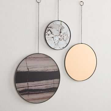 Gilded Pendant Wall Art, Set of 3, Antique Bronze - West Elm