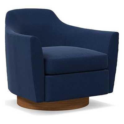 Haven Swivel Chair, Poly, Performance Velvet, Ink Blue, Dark Walnut - West Elm