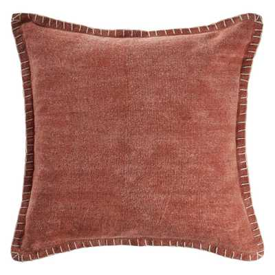 LR Home Aegean Clay Solid Color Embroidered Border Cozy Poly-fill 24 in. x 24 in. Throw Pillow - Home Depot