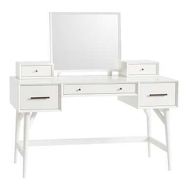 west elm x pbt Mid-Century Vanity Desk Set, White - Pottery Barn Teen