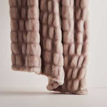 "Faux Fur Cascade Throw, 47""x60"", Dusty Blush - West Elm"