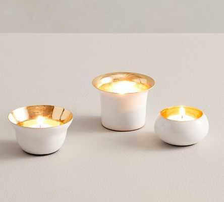 Helen Tea Light Candle Holders, White, Set of 3 - Pottery Barn