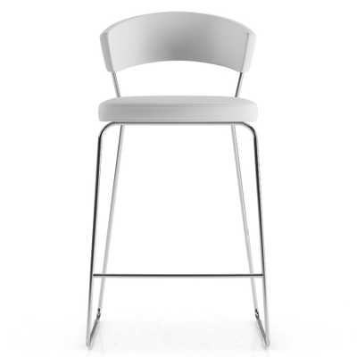 Modloft Delancey Industrial Loft White Eco Leather Bar Stool - Kathy Kuo Home