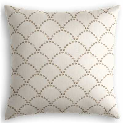 Loom Decor Embroidered Scallop Linen Throw Pillow Size: 20 x 20 / Taupe - Perigold