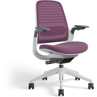 Steelcase Series 1 Ergonomic Mesh Task Chair Frame Color: Seagull, Upholstery Color: Concord - Perigold