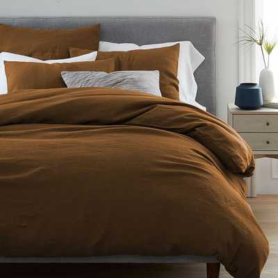 Belgian Flax Linen Duvet Cover, Full/Queen + Standard Shams, Dark Amber - West Elm