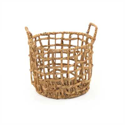 Zentique Round Handmade Sparsed Water Hyacinth Small Basket with Handles, Brown - Home Depot