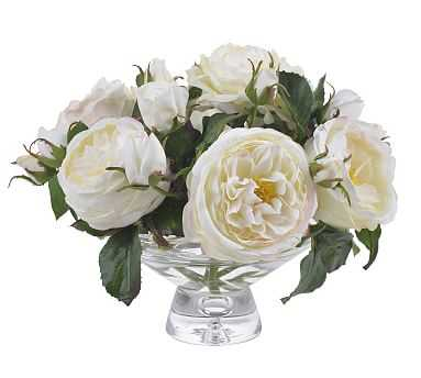 Faux White Rose Composed Arrangement, Glass Vase - 10'' - Pottery Barn