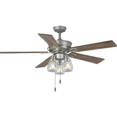 """56"""" Metz 5 Blade Ceiling Fan, Light Kit Included - Birch Lane"""