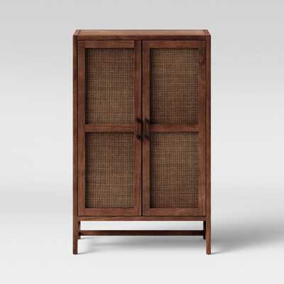 Warwick Wood & Rattan Library Cabinet Brown - Threshold - Target
