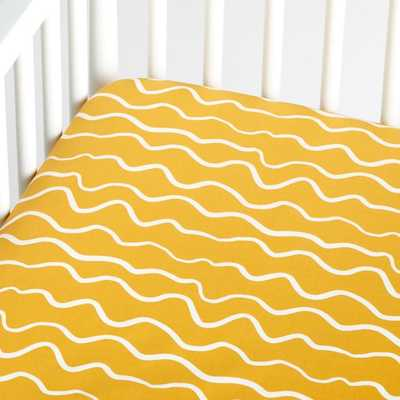 Organic Imperfect Stripe Crib Fitted Yellow Sheet Set - Crate and Barrel