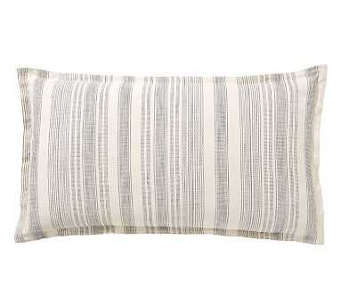 Hawthorn Stripe Cotton Sham, King, Charcoal - Pottery Barn