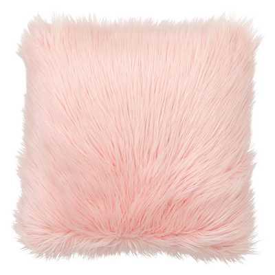 Himalayan Faux-Fur Pillow Cover & Insert, 18x18, Blush - Pottery Barn Teen