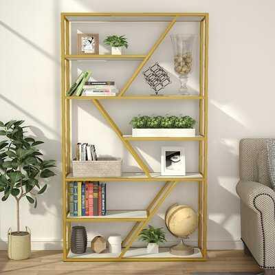 Everly Quinn 7-Tier Open Bookshelf(Gold) - Wayfair