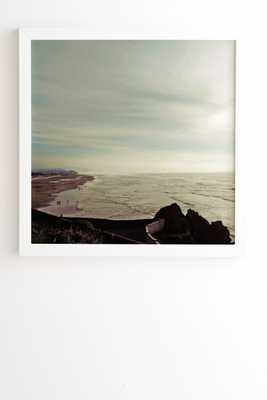 "Chelsea Victoria A Day At The Beach White Framed Wall Art - 30"" x 30"" - Wander Print Co."
