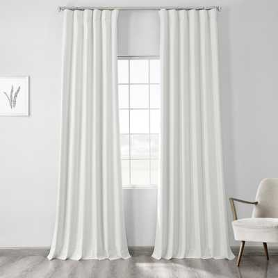 Exclusive Fabrics & Furnishings Starlight Off White Vintage Thermal Cross Linen Weave Max Blackout Curtain - 50 in. W x 84 in. L (1 Panel) - Home Depot