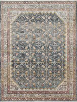 """Magnolia Home by Joanna Gaines GRAHAM GRA-01 BLUE / PERSIMMON 9'-6"""" x 12'-6"""" - Magnolia Home by Joana Gaines Crafted by Loloi Rugs"""