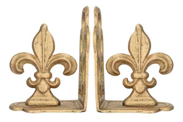 Distressed Gold Fleur de Lis Shaped Iron Bookends (Set of 2 Pieces) - Nomad Home