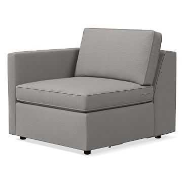 Harris Left Arm Chair, Poly, Yarn Dyed Linen Weave, Platinum - West Elm
