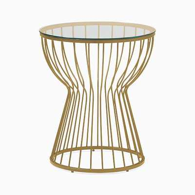Pillar Glass/Antique Brass Round Side Table - West Elm