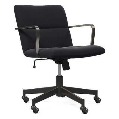 Cooper Mid-Century Office Chair, Antique Bronze, Performance Velvet, Shadow - West Elm
