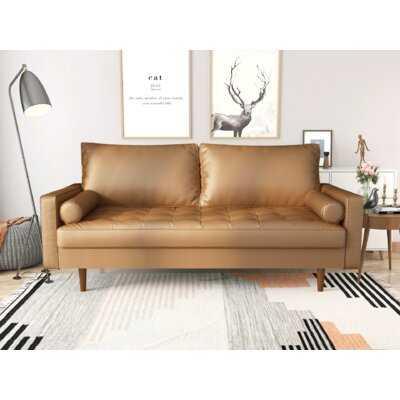 "Lipinski 70"" Wide Faux Leather Square Arm Sofa - Wayfair"