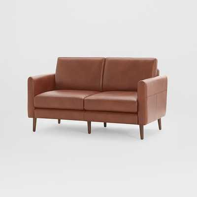 Nomad Arch Leather Loveseat, Dark Wood - West Elm