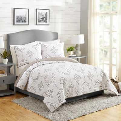 MODERN HEIRLOOM Chambers Gray King Quilt Set 3 Piece - Home Depot