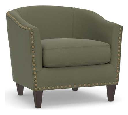 Harlow Upholstered Armchair with Bronze Nailheads, Polyester Wrapped Cushions, Performance Heathered Velvet Olive - Pottery Barn