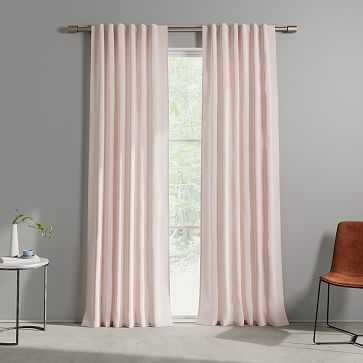 "Cotton Canvas Fragmented Lines Curtains, 48""x96"", Pink Blush (Set of 2) - West Elm"