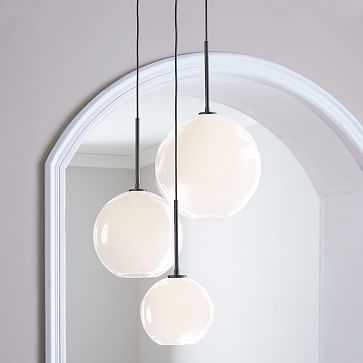 Sculptural Glass 3-Light Round Globe Chandelier, Milk Shade, Bronze Canopy - West Elm