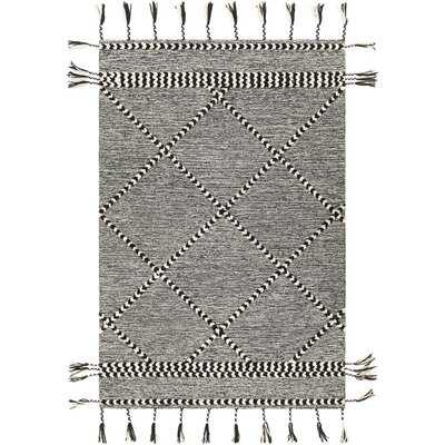Hillyer Oriental Handmade Tufted Wool Black Area Rug - Wayfair