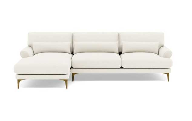 Maxwell Left Sectional with White Cirrus Fabric and Brass Plated legs - Interior Define