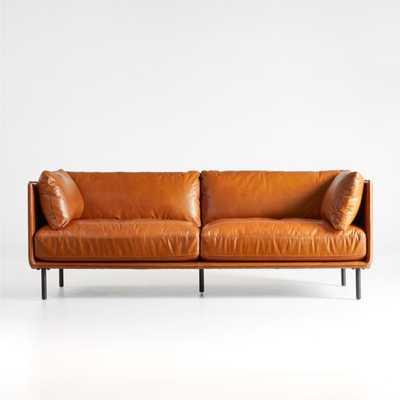 Wells Leather Tuxedo Sofa - Crate and Barrel