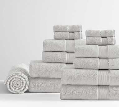 PB Classic Organic Bath, Hand, Washcloth Towels & 1 Bath Mat, Set of 13, Gray Mist - Pottery Barn