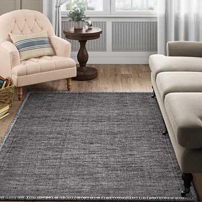 Eddie Handmade Flatweave Cotton Gray/Black Area Rug - Birch Lane