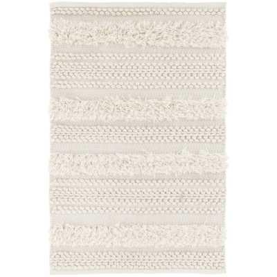 Dash and Albert Rugs Zhara Stripe Handmade Shag Ivory Area Rug Rug Size: Rectangle 5' x 8' - Perigold