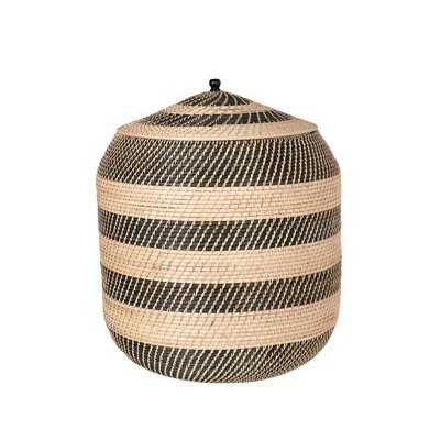 Extra-Large Rattan Belly Basket, Natural-Black - Wayfair