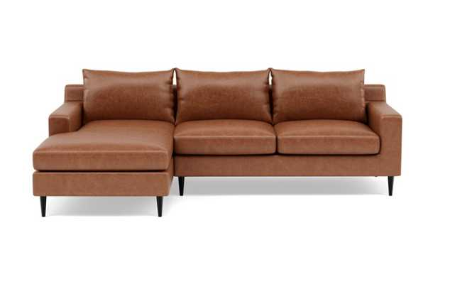 Sloan Leather Left Sectional with Brown Pecan Leather, double down cushions, and Unfinished GunMetal legs - Interior Define