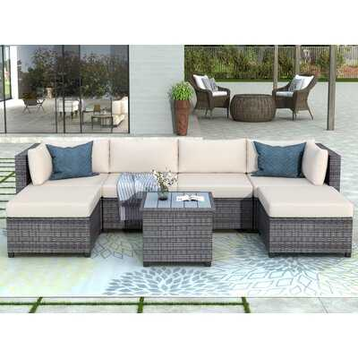 Saluda 7 Piece Rattan Sectional Seating Group with Cushions - Wayfair