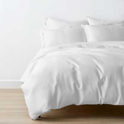 The Company Store Tencel Lyocell White Solid Sateen Queen Duvet Cover - Home Depot