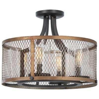 "Croy 4 - Light 16.5"" Caged Drum Semi Flush Mount - Wayfair"