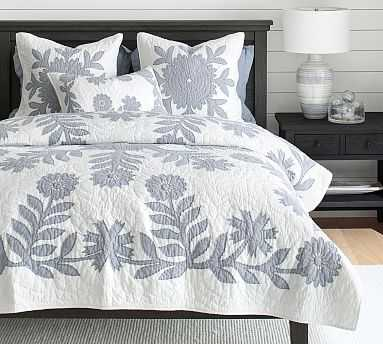 Lilo Cotton Handcrafted Quilt, King/Cal King, Blue - Pottery Barn