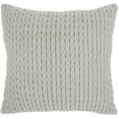 """Mina Victory Life Styles Light Grey 18""""x18"""" Square Quilted Chevron Polyester Suede Throw Pillow, Lt Grey - Home Depot"""