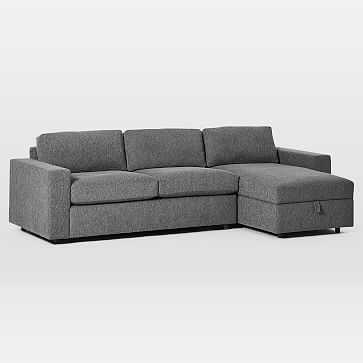 Urban Sectional Set 17: Left Arm Sleeper Sofa, Right Arm Storage Chaise, Poly, Chenille Tweed, Pewter, - West Elm