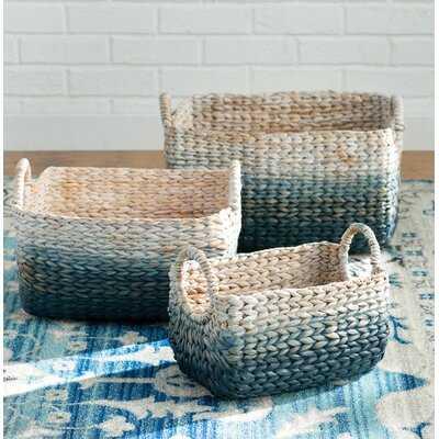 Woven Water Wicker 3 Piece Basket Set - Wayfair