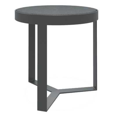 Sunset West Modern Grey Honed Granite Round Outdoor Side End Table - Kathy Kuo Home