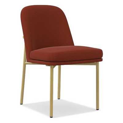 Jack Metal Frame Dining Chair, Distressed Velvet, Rust, Light Bronze - West Elm